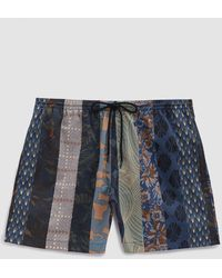 Dries Van Noten - Mixed Print Swim Short In Blue Multi - Lyst