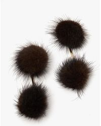 Tuleste - Mink Double Pom Pom Earrings - Lyst