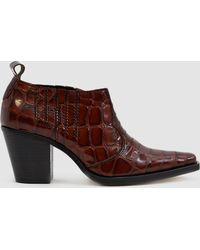 Ganni - Nola Croc Effect Ankle Boot - Lyst