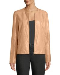 Eileen Fisher - Zip-front Shaped Leather Jacket - Lyst