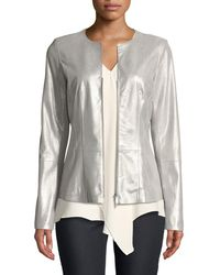 Lafayette 148 New York - Maris Metallic-weave Leather Jacket - Lyst