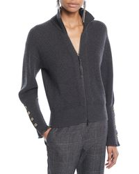 Brunello Cucinelli - Mock-neck Zip-front Ribbed Cashmere Jacket W/ Brass Buttons On Cuff - Lyst