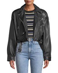 Lamarque - Dylan Dropped-shoulder Cropped Leather Biker Jacket - Lyst