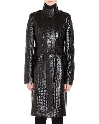 Akris Punto - Stand-collar Button-front Crocodile Embossed Patent Faux-leather Coat - Lyst
