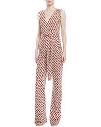 Diane von Furstenberg - Terria Palm-print Wide-leg Jumpsuit - Lyst