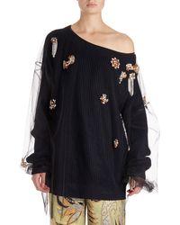 Dries Van Noten - Jazma Oversized One-shoulder Knit Sweater W/ Tulle Overlay - Lyst
