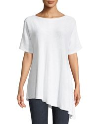 Eileen Fisher - Short-sleeve Asymmetric Linen Top - Lyst