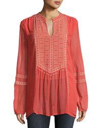 Tolani - Lauren Embroidered Boho Blouse Plus Size - Lyst