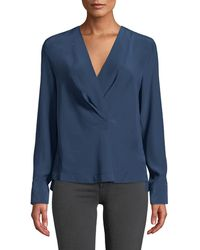 Rag & Bone - Shields Silk Drape-front Long-sleeve Blouse - Lyst