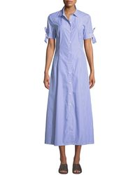 1b11bd7c Theory - Dalton Long Striped Tie-sleeve Cotton Shirtdress - Lyst