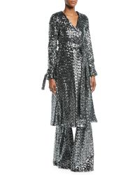 Alexis - Niecy Sequin Wrap Long-sleeve Cocktail Kimono Dress - Lyst