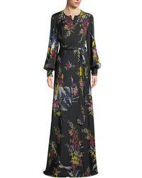 Diane von Furstenberg - Belted Long-sleeve Floral-print Silk Maxi Dress - Lyst