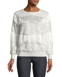 Elie Tahari - Roslyn Fringed-trim Sweater - Lyst
