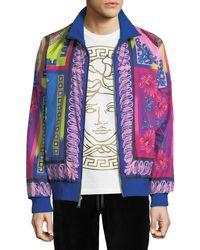 Versace - Men's Printed Zip-front Reversible Jacket - Lyst