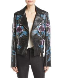 Elie Saab - Zip-front Floral-print Studded Lambskin Leather Moto Jacket - Lyst