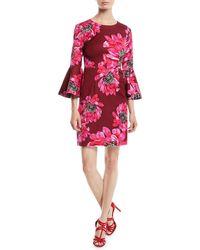 Trina Turk - Trumpet-sleeve Sheath Dress In Macro Floral Print - Lyst
