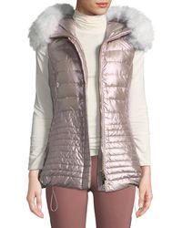 Gorski - Horizontal-quilted Puffer Apres-ski Vest W/ Fox-fur Trim
