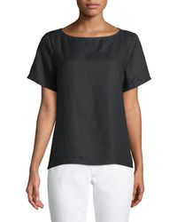 Eileen Fisher - Organic Handkerchief Linen Short-sleeve Top - Lyst