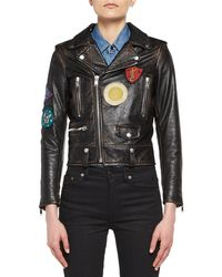 Saint Laurent - Leather Moto Jacket With Patches - Lyst