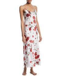 Meng | Rose-print Silk Long Slip Nightgown | Lyst