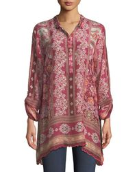 Johnny Was - Long Frame-print Georgette Tunic - Lyst