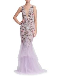 Marchesa - Floral Beaded Gown - Lyst