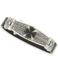 Konstantino - Men's Leather & Spinel-cross Bracelet - Lyst
