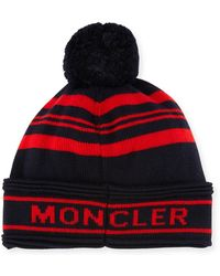 f8ea554fc35971 Lyst - Moncler Wool Striped Logo Beanie Hat in Blue for Men