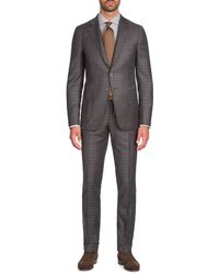 Isaia - Men's Multi-check Wool-cashmere Two-piece Suit - Lyst