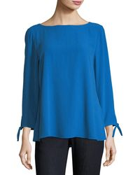 Eileen Fisher - Silk Georgette Tie-sleeve Top - Lyst
