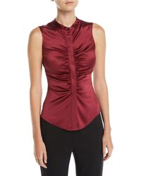 Theory - Ruched Satin Fitted Button-front Sleeveless Top - Lyst