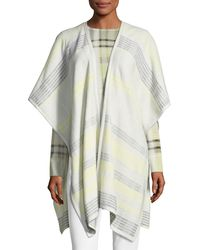 St. John - Felted Plaid Knit Wrap W/ Leather Trim - Lyst