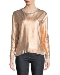 Neiman Marcus - Long-sleeve Metallic Pullover Sweater - Lyst