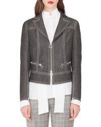 Akris - Aaron Short Zip Front Cotton Denim Jacket - Lyst