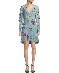 Joie - Tamarice Floral Long-sleeve Short Dress - Lyst