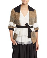 Brunello Cucinelli - Open-front Belted Coated Linen-silk Cardigan With Metallic - Lyst