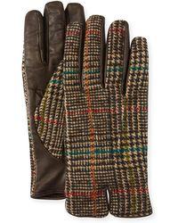 Etro - Men's Plaid-back Leather Gloves - Lyst