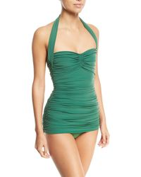 Mio One-shoulder Striped Swimsuit - Leaf green Norma Kamali Clearance Latest Clearance Cheapest Eastbay VqA9d9l2p