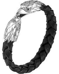 John Hardy - Silver Eagle Head Leather Bracelet - Lyst
