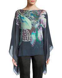 Roberto Cavalli - Fluid-sleeve Exotic Floral-print Silk Georgette Caftan Blouse - Lyst