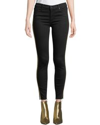 Black Orchid - Noah Ankle Fray Skinny Jeans W/ Gold Racer Stripes - Lyst