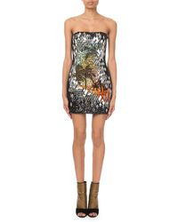 20c33441380 Balmain - Palm Tree Sequinned Mini Dress - Lyst
