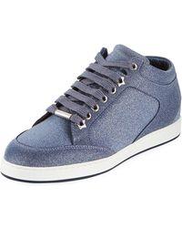 37edd6528a26 Lyst - Jimmy Choo Miami Glitter Leather Low-top Sneakers in Black ...