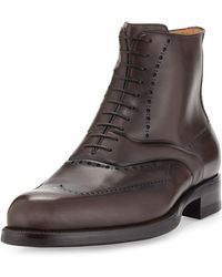A.Testoni - Wing-tip Leather Lace-up Boot - Lyst