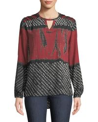 2bc05dcbd68f4 Tolani - Caitlyn Long-sleeve Tie-dye Print Blouse W  Embroidered Detail -