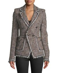 Veronica Beard - Theron Double-breasted Tweed Jacket W/ Frayed Trim - Lyst