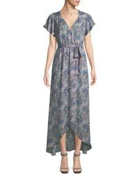 Ella Moss - Floral-print Short-sleeve Maxi Wrap Dress - Lyst