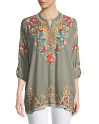 Johnny Was - Jessa Embroidered Georgette Tunic - Lyst