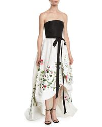Oscar de la Renta - Botanical Garden Embroidered Strapless Gown - Lyst