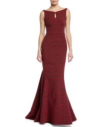 Zac Posen - Floral Party Jacquard Sleeveless Mermaid Gown - Lyst